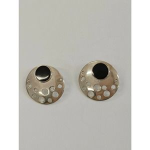 .925 Sterling Silver & Black Round Earrings Mexico